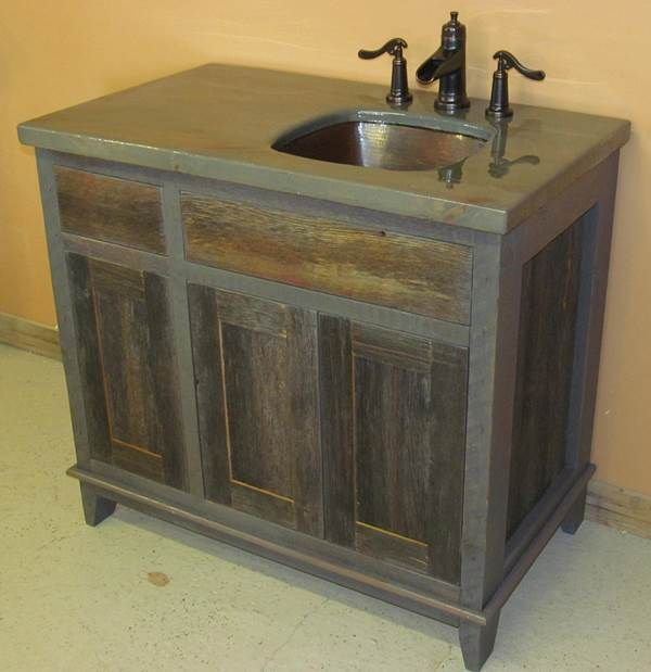 Antique Weathered Gray Barn Wood Vanity Bathroom Vanity Style Vanity Bathroom Red