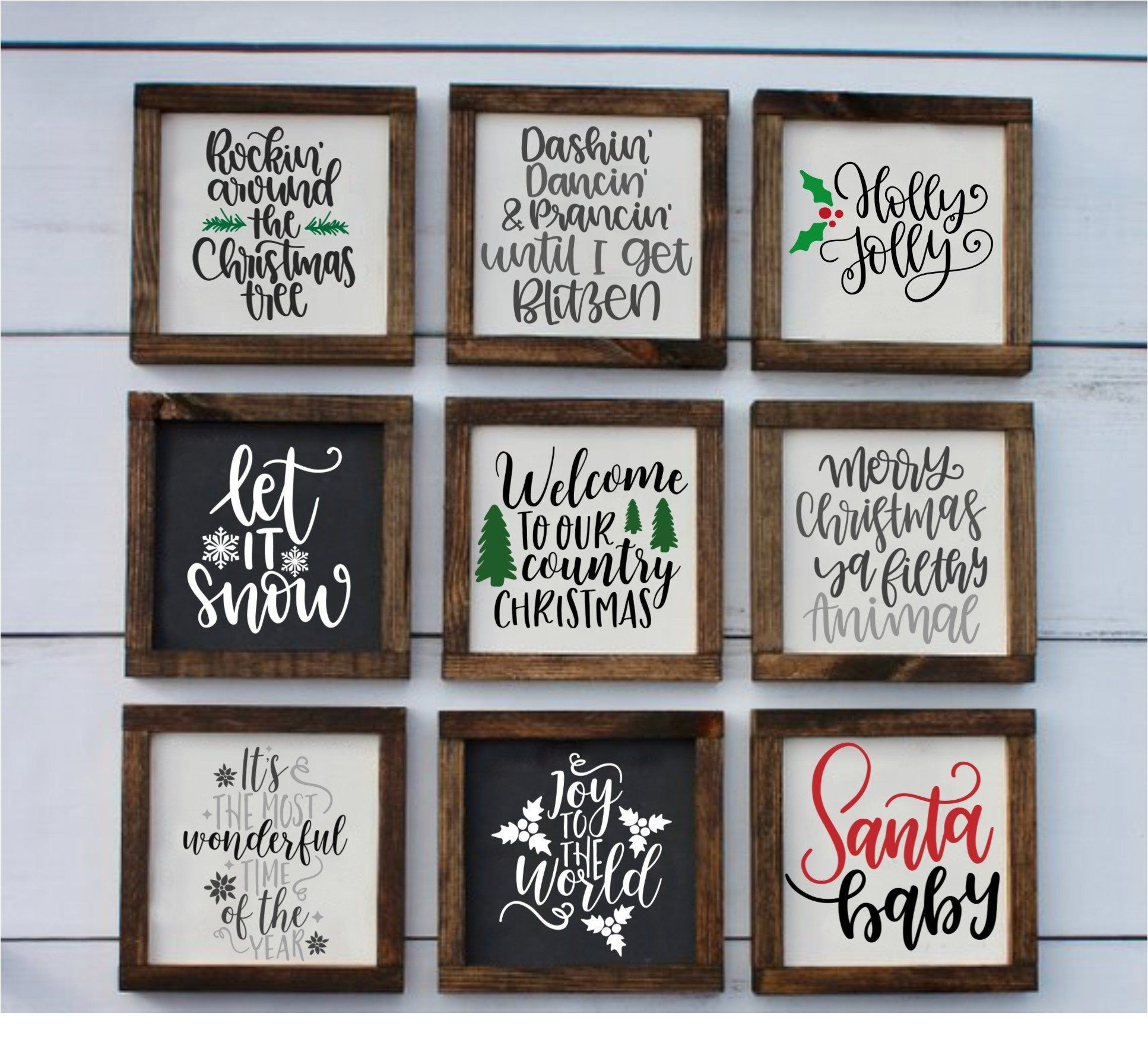 Mini Farmhouse Christmas Signs, Farmhouse Holiday