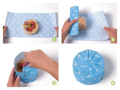 dont fuss with a round package use a pinwheel fold instead