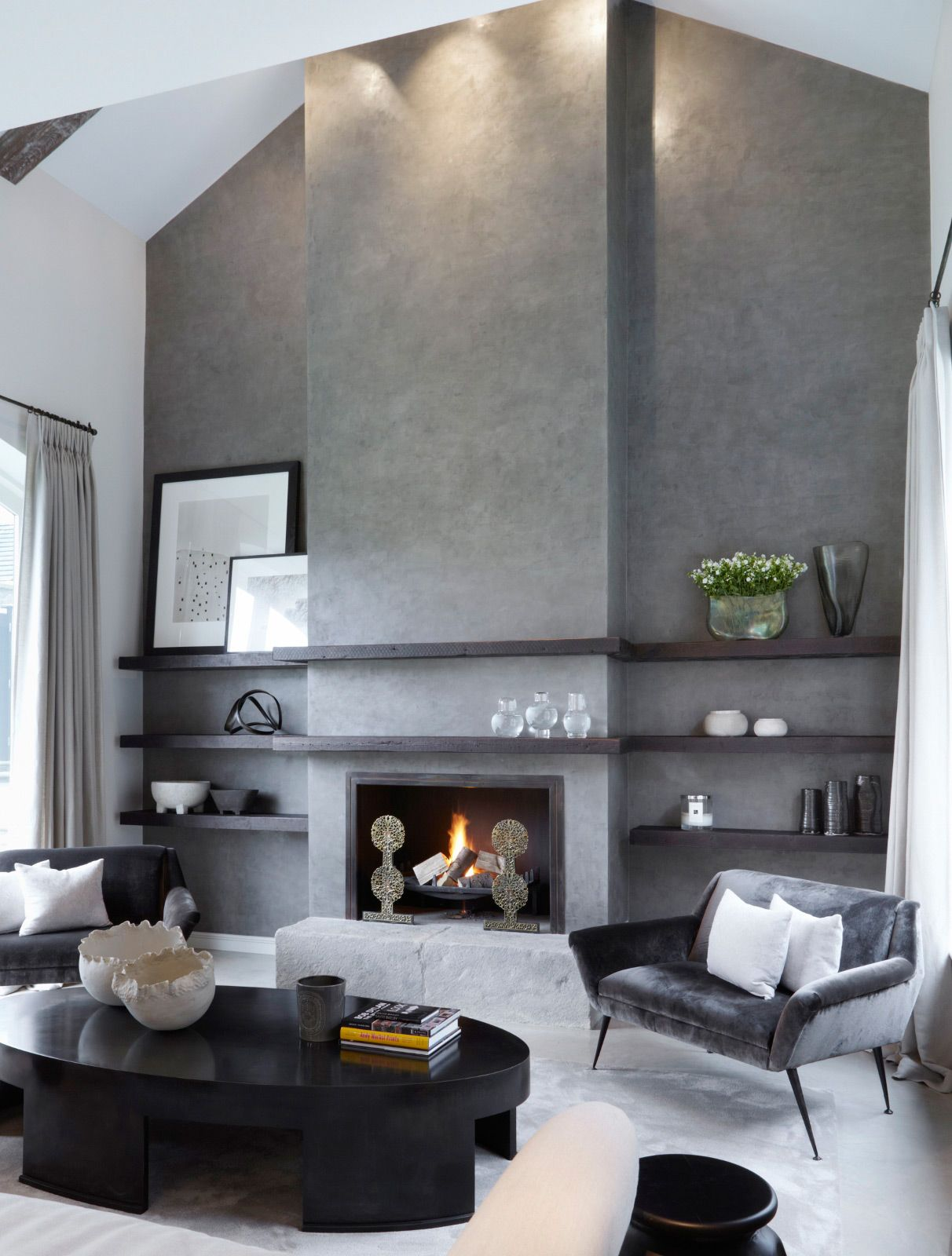 Polished concrete fireplace in a home in Yorkshire UK designed by