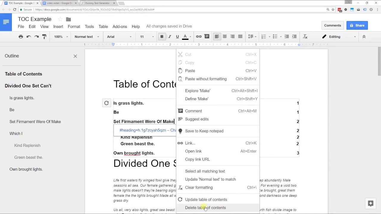 Google Docs Create A Table Of Contents With Page Numbers Or Links Pertaining To Contents Page Wor Contents Page Word Word Template Table Of Contents Template