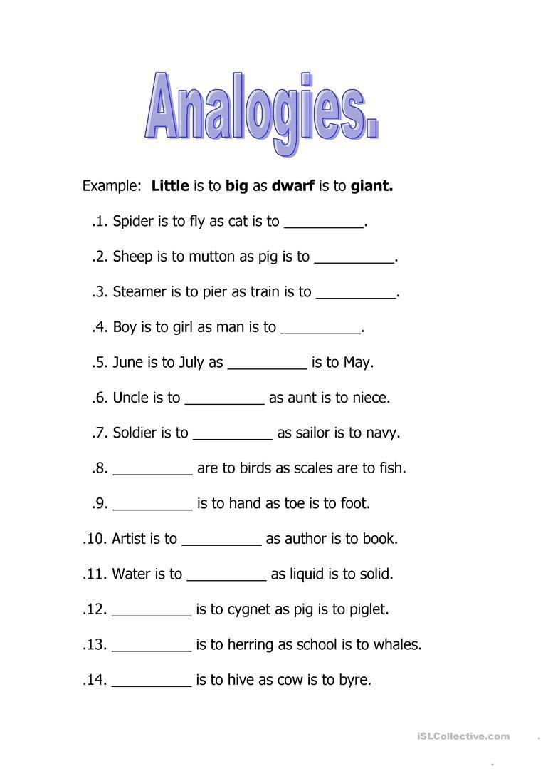 Image Result For Analogies Worksheet Worksheets For Kids Math