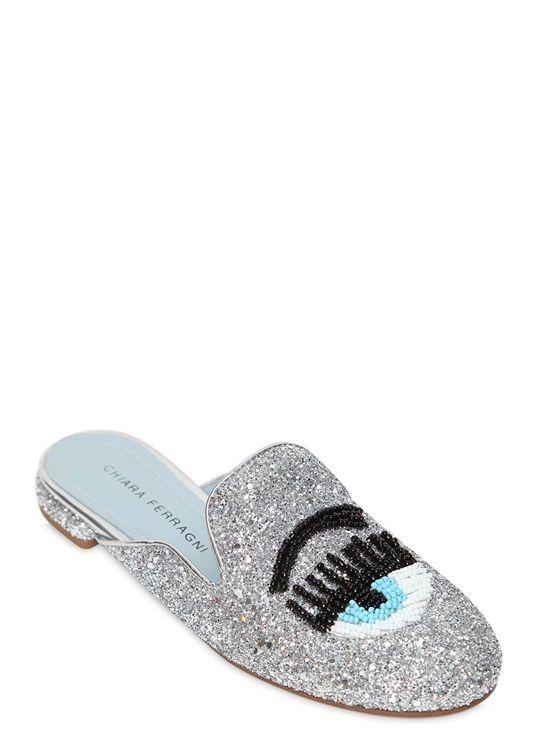 chiara ferragni - women - flats - 10mm beaded flirting eye glitter mules