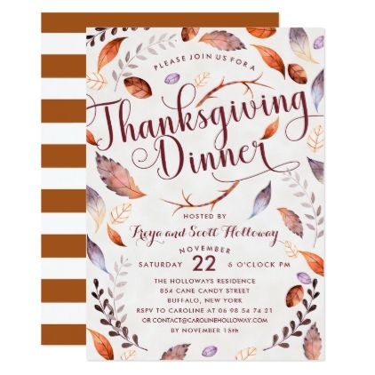 Watercolor Fall Foliage Thankgiving Dinner Card  Thanksgiving
