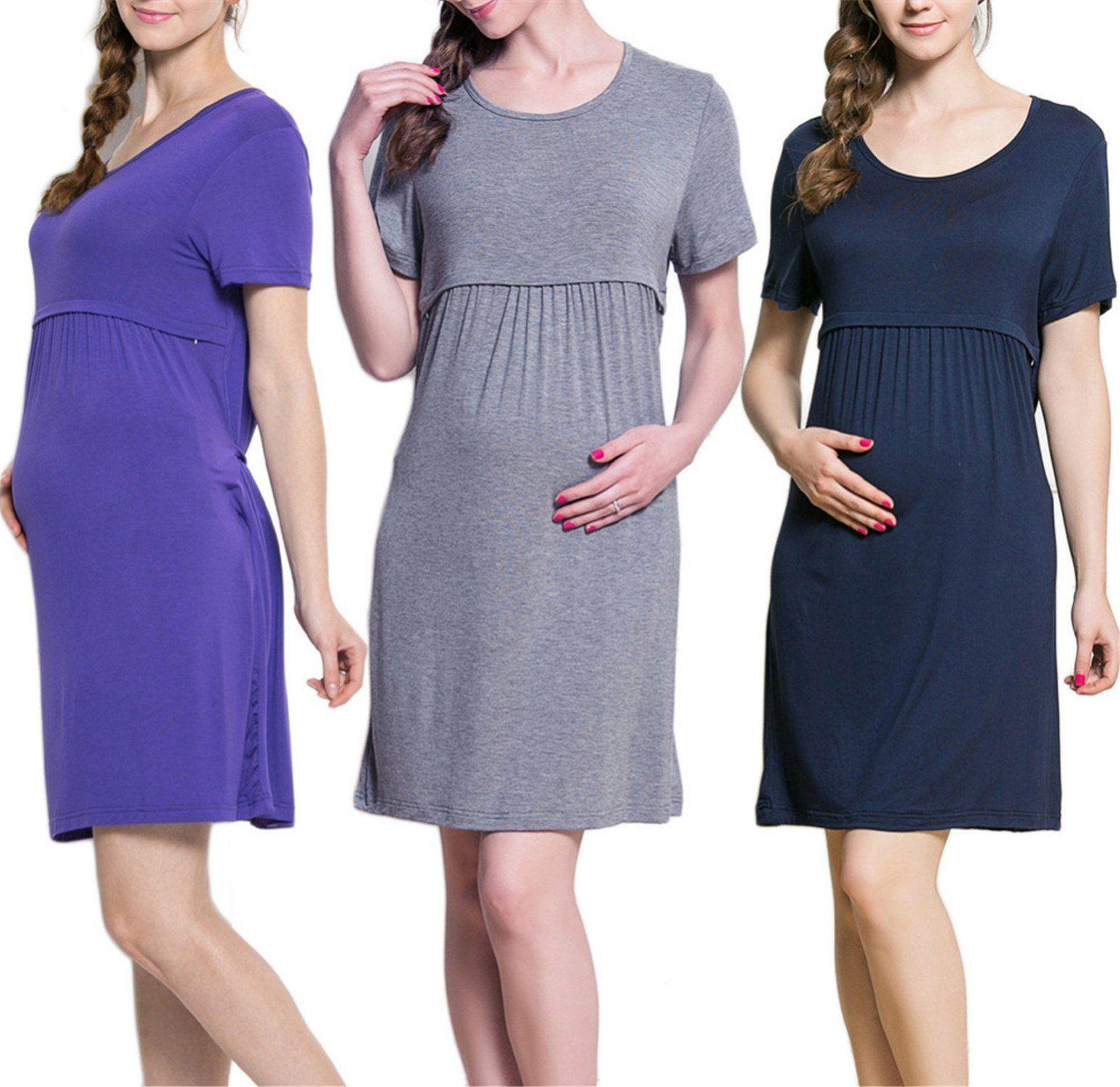 Short Sleeve Maternity Pregnancy Nursing Breastfeeding Nightdress Mustard