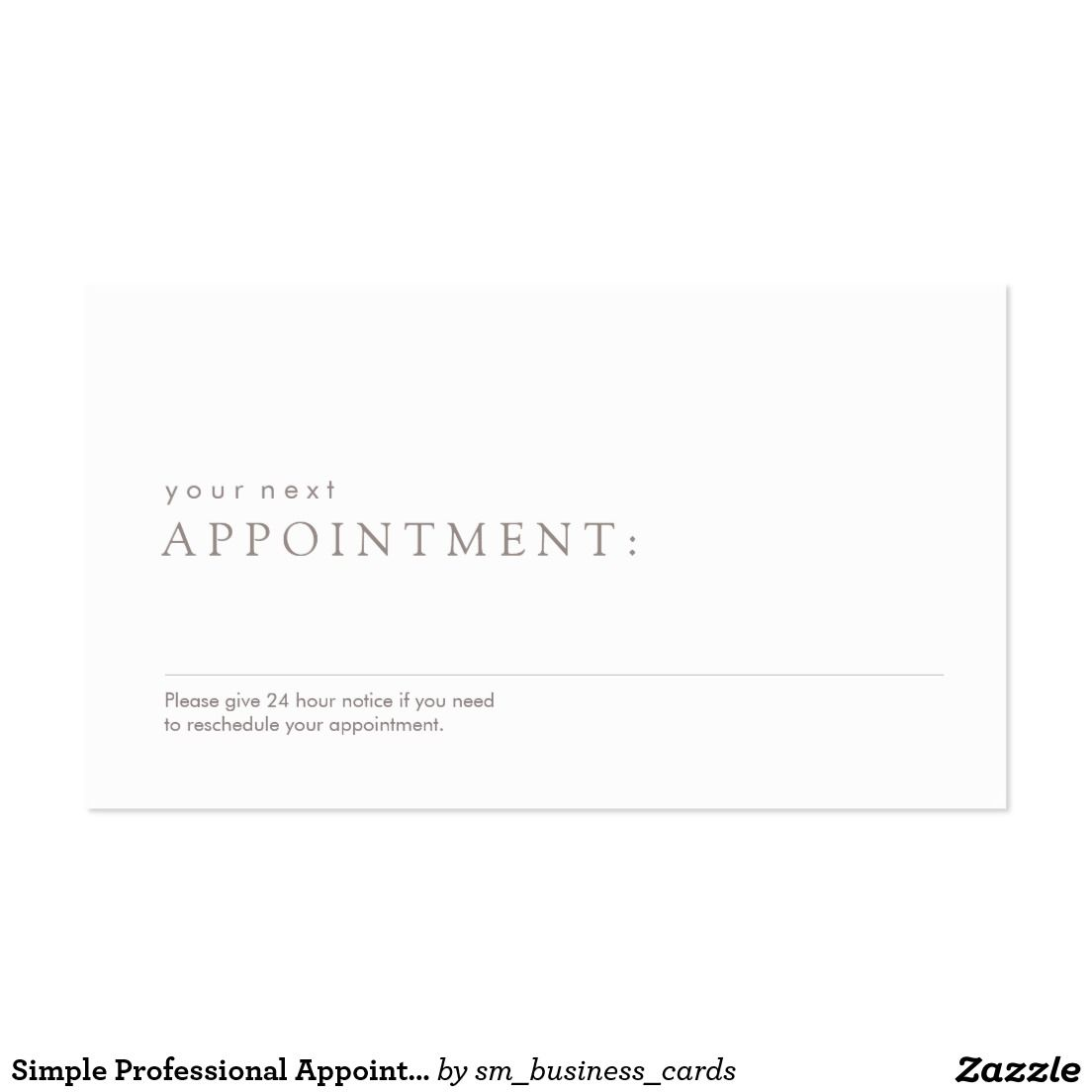 Simple Professional Appointment Reminder Business Card   Salon Spa ...