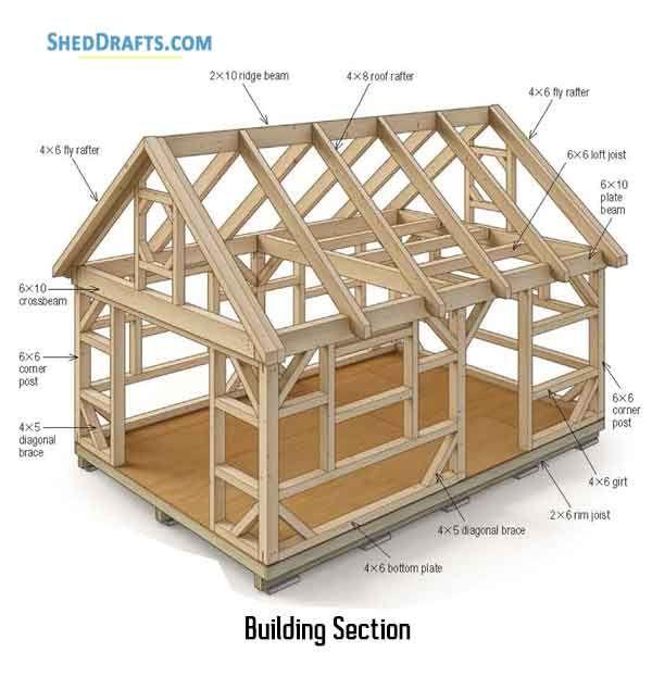 14 20 Post Beam Barn Shed Plans Blueprints For Assembling