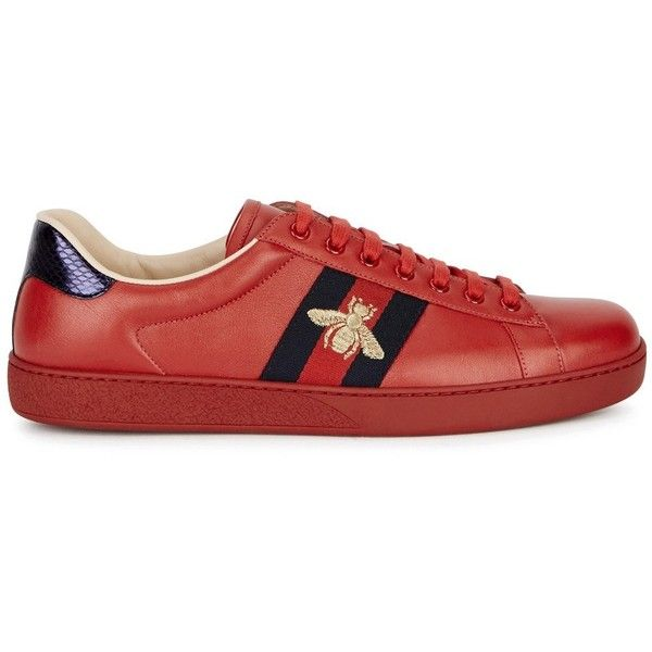5af5bf7db25 Gucci Red Bee-embroidered Leather Trainers - Size 6 ($590) ❤ liked ...