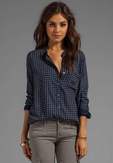 Soft joie anabella plaid button down womens shirt for Womens patterned button down shirts