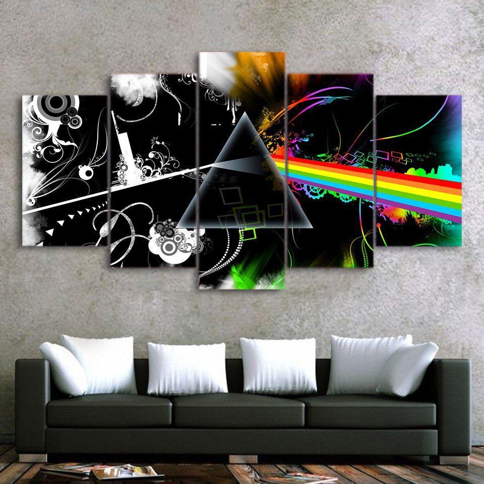 pink floyd music band canvas hd wall decor 5pc framed oil on canvas wall art id=25097