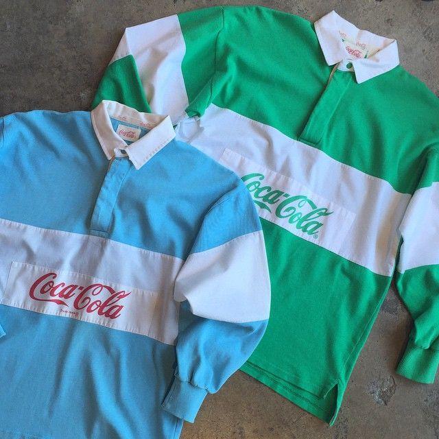 04805138e2e 80s Coca-Cola Rugby Mine was Pastel Aqua, White & Heather Grey ...