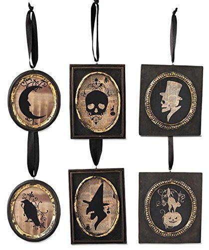 BETHANY LOWE Halloween Gothic Inspired Silhouette Portait Ornaments - lowes halloween