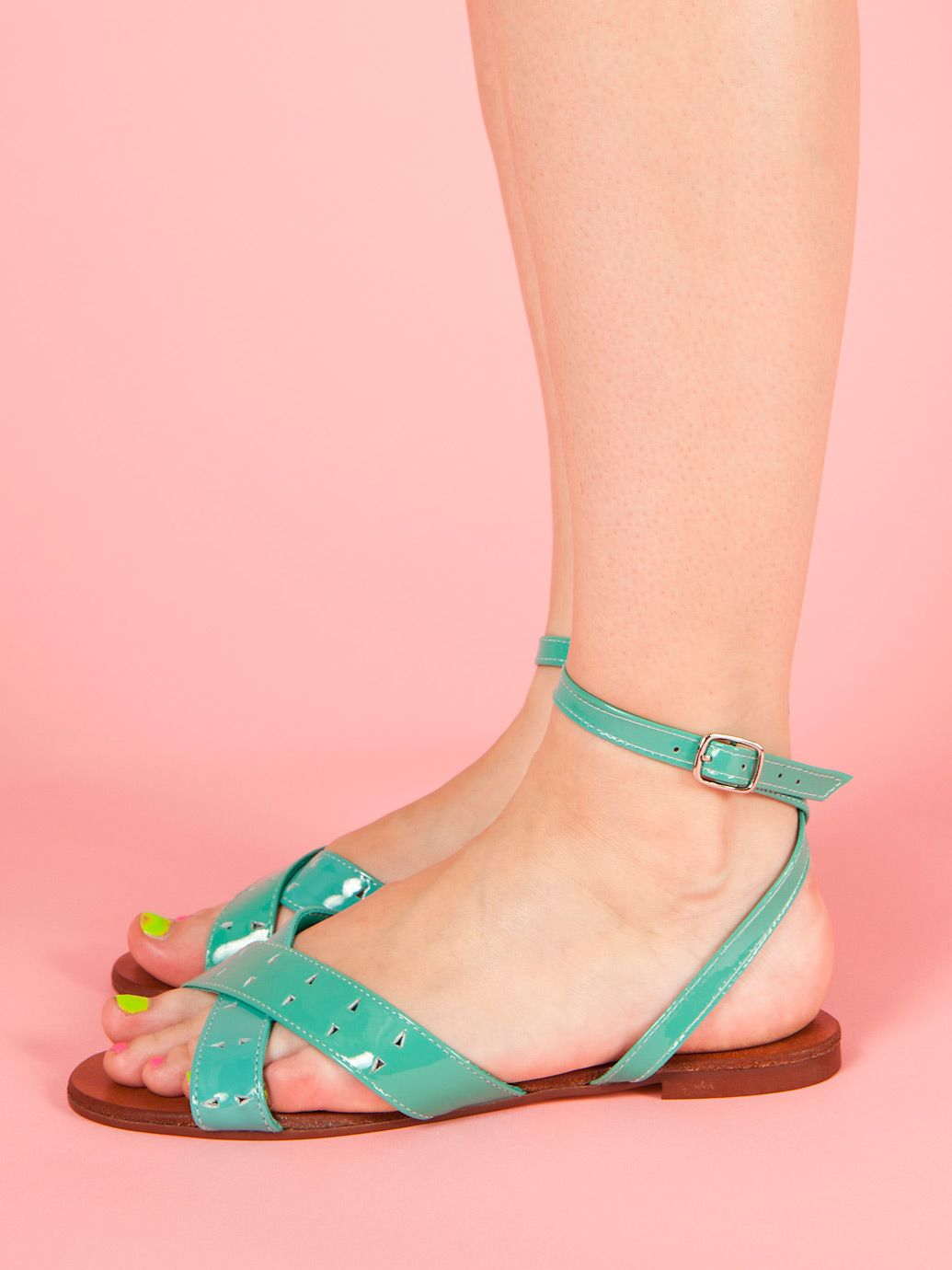 Leather Criss Cross Flat Sandal in Turquoise by #AmericanApparel.  #shoes #sandals #turquoise #accessories