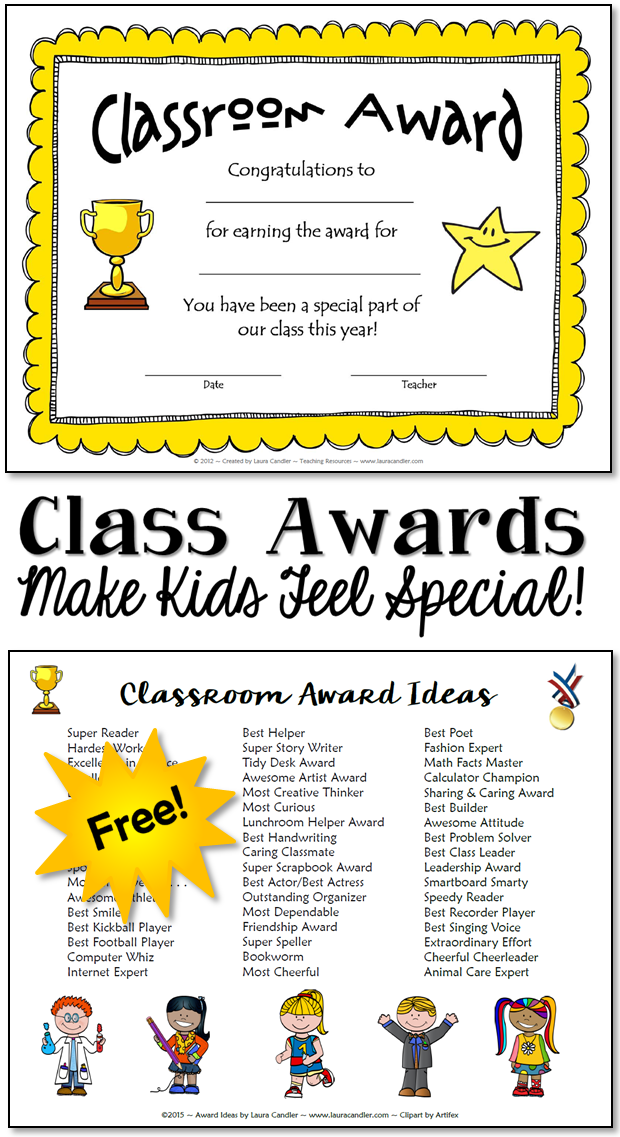 Classroom Awards Make Kids Feel Special Laura Candlers Freebies