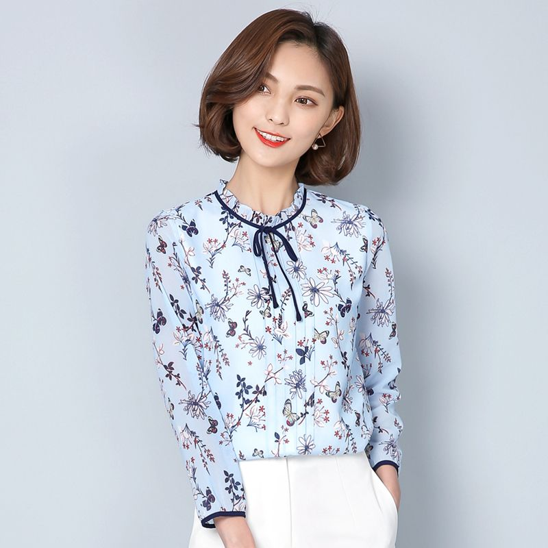 33d11aaf80b 2017 Hot sale women chiffon Blouse large size Casual Floral Print stand  collar long Sleeve Elegant