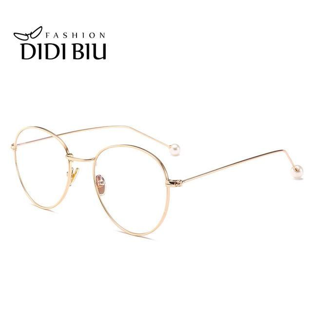 187d6632e3c1 DIDI Small Round Clear Eyeglass Frame Pearl Rose Gold Retro Thin Metal  Compute Glasses Frame Accessory luxury Brand Oculos W755