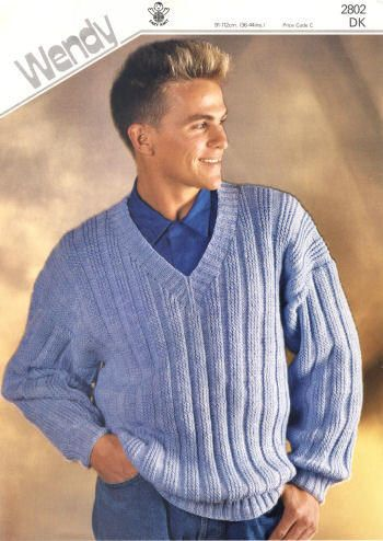 a0a0c138fb4e Mens Ribbed V-Neck Pullover Sweater Vintage Knitting Pattern for ...