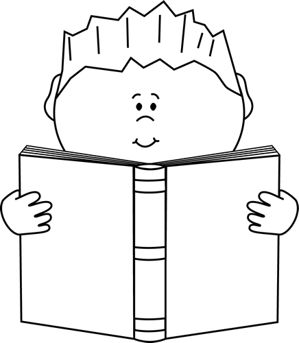 Reading A Book Clip Art Image Black And White Art