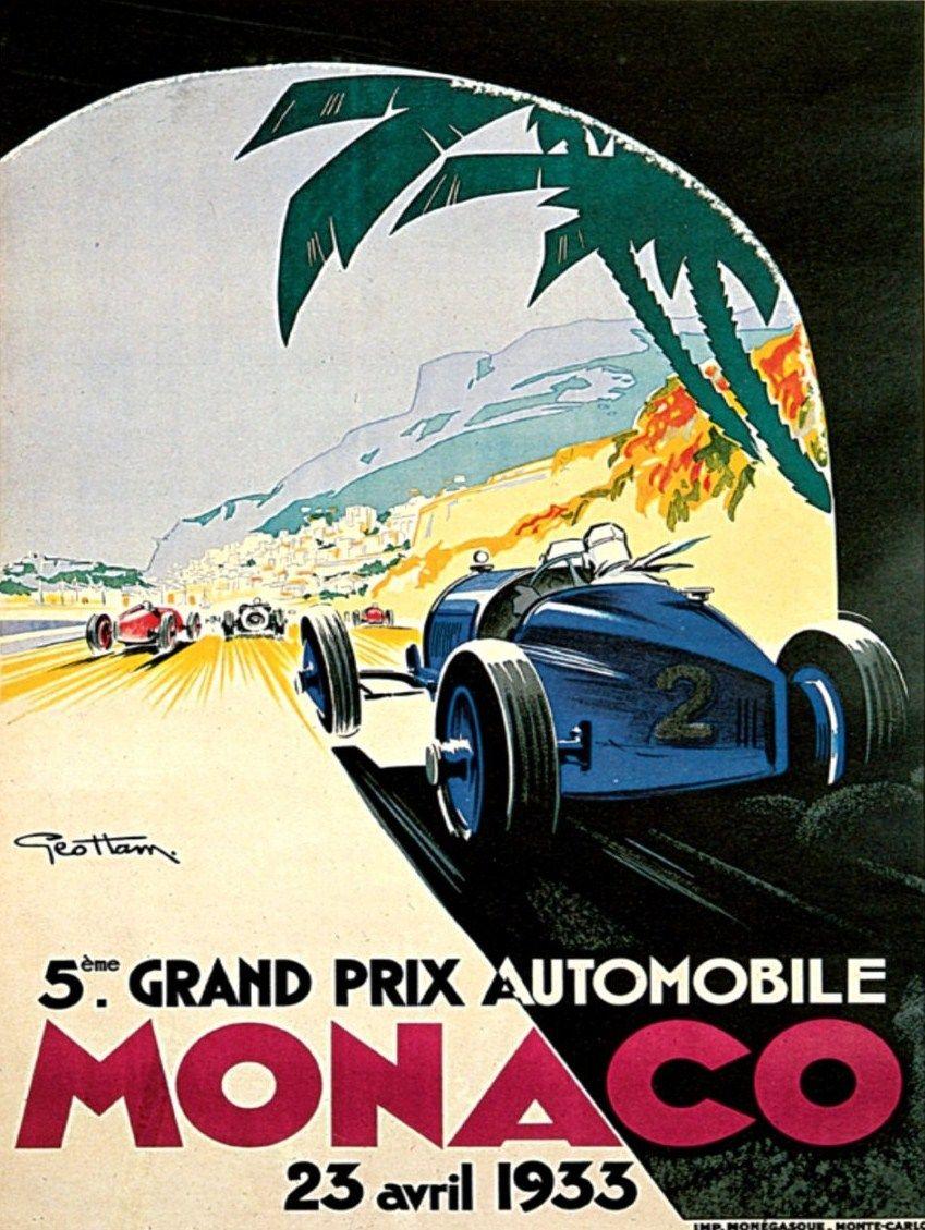 AV43 Vintage 1957 Monaco Grand Prix Motor Racing Poster Re-Print  A2//A3