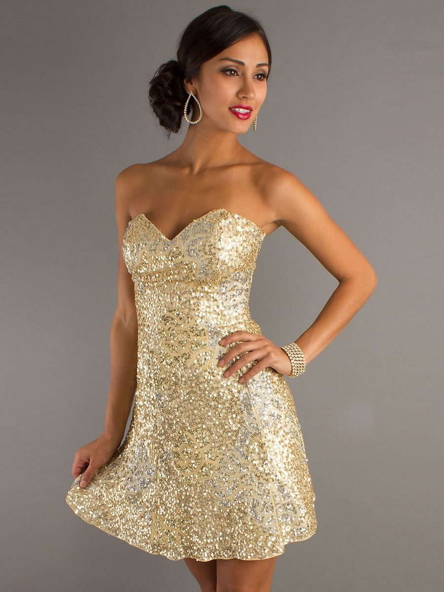 Strapless Sweetheart Gold Sequin Short Dress With Natural Waistline