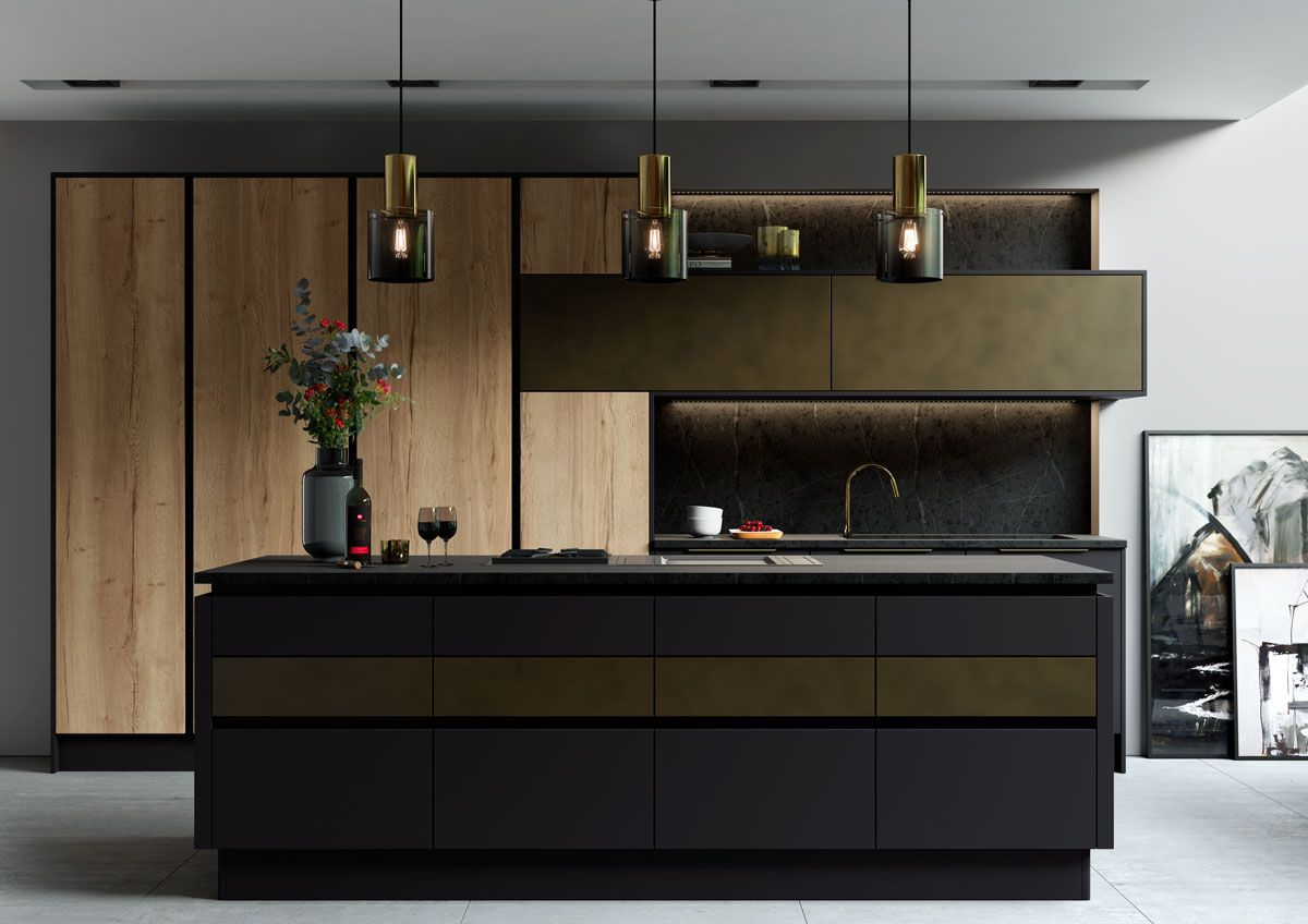 Cosdon handle-less is a beautiful, modern kitchen that offers complete personalisation and the ability to design the kitchen of your dreams.  The possibilities are endless when using the variety of doors available, so whatever look you are aiming for, use the Cosdon range as your palette.  When designing a modern kitchen, achieve the desired streamlined effect through the use of the Gola profile.  Experiment with gloss and matt, explore the unique textures and finishes of the Foundry doors…