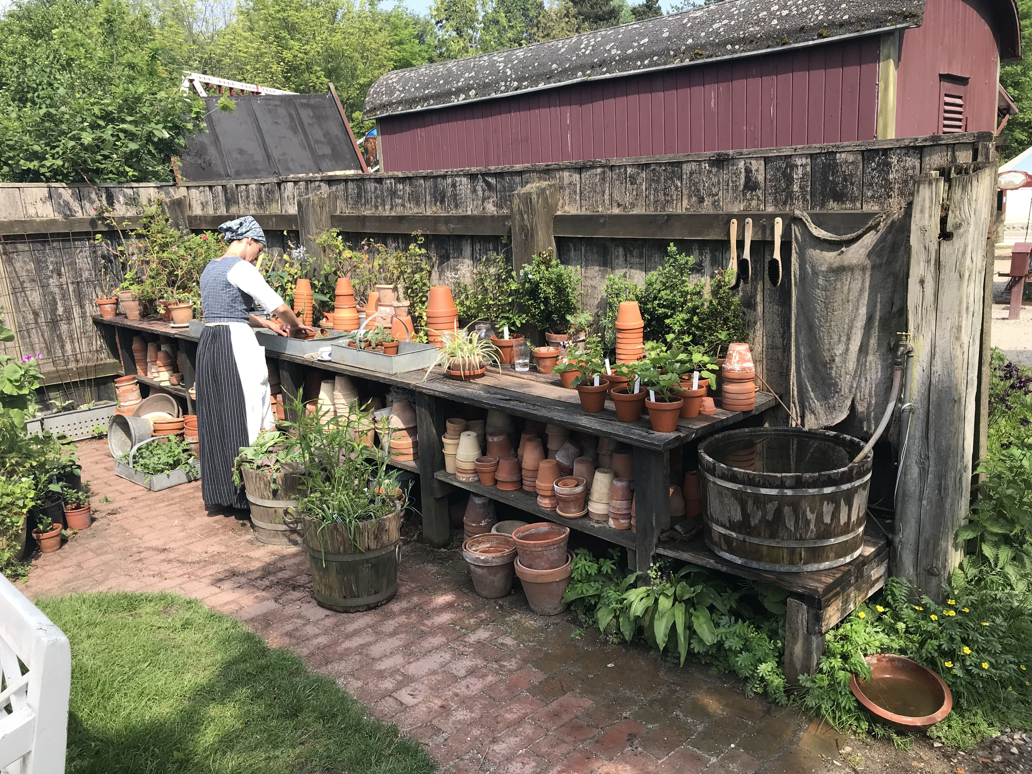 Nice Classic Potting Table At Den Gamle By Aarhus Denmark A National Open Air Museum Of Urban Histo Country Gardening Herbaceous Perennials Potting Table