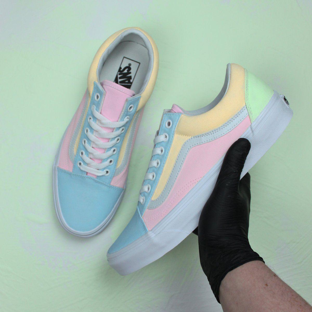 Multi colored vans old skool custom sneakers | Vans