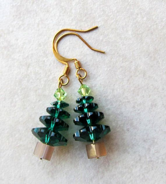Festive Smaller Christmas Tree Dangle Earrings With Green Star by