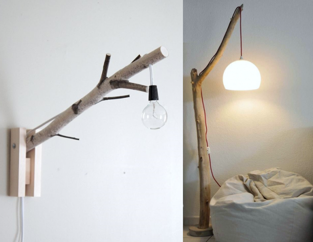 diy fabriquer une lampe avec une branche d arbre. Black Bedroom Furniture Sets. Home Design Ideas
