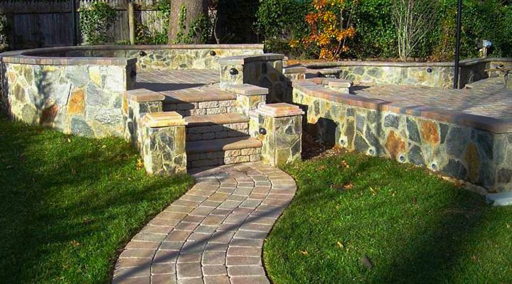 Patio Design Idea | Multi-Level With Pavers and Rustic Stone