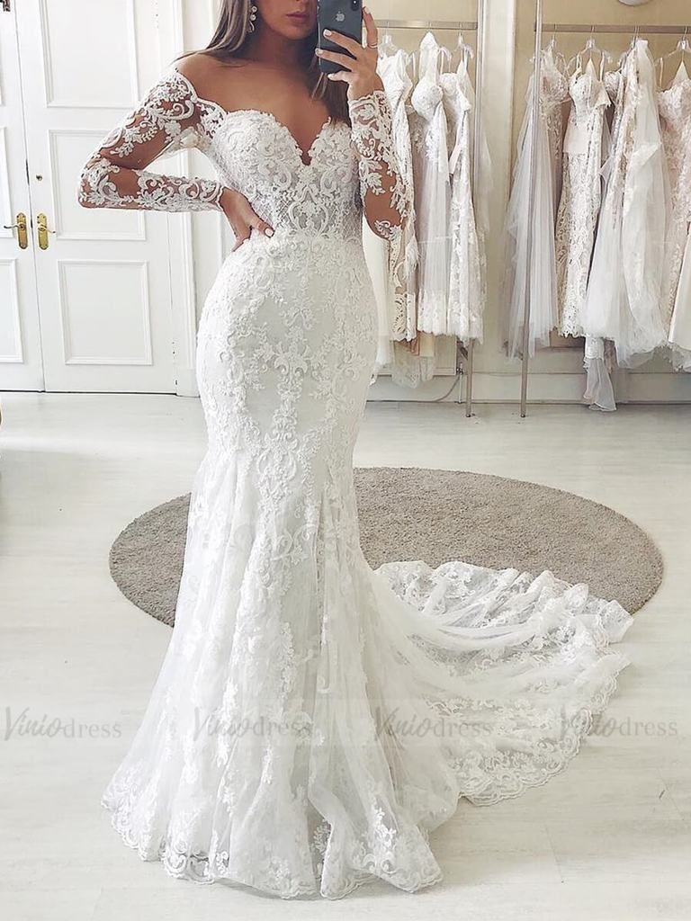 Off The Shoulder Lace Long Sleeve Mermaid Wedding Dresses Vw1315 Long Sleeve Mermaid Wedding Dress Illusion Neckline Wedding Dress Long Sleeve Wedding Dress Lace Mermaid