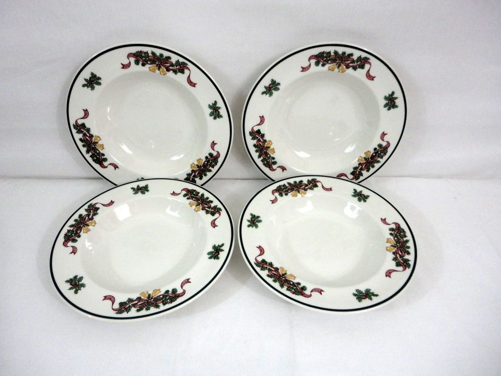 4 Johnson Brothers Victorian Christmas FOUR Rimmed Soup Bowls ...