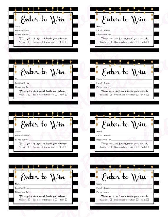 Raffle Card, printable prize entry ticket, win form, black