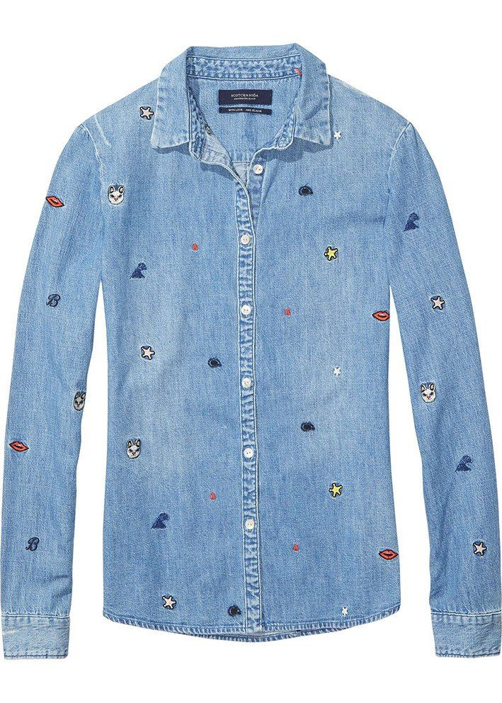 Maison Scotch Skjorte denim 134816 Embroidered Denim Shirt