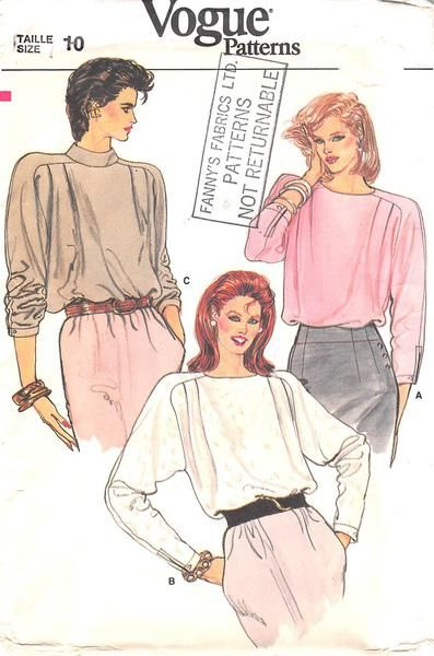 VOGUE 8889 - FROM 80S - UNCUT - MISSES BLOUSE | Pattern Stuff ...