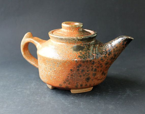 This One Of A Kind Shino Glazed Teapot Wheel Thrown And Finished By Hand Is Made From Imported French Clay In The A Tea Pots Stoneware Teapot Handmade Teapot