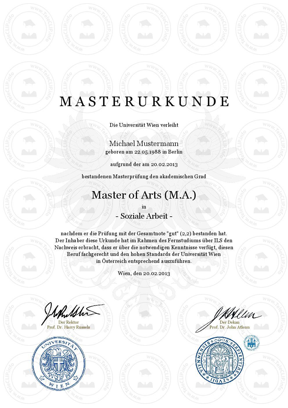 Master Urkunde kaufen Business administration degree
