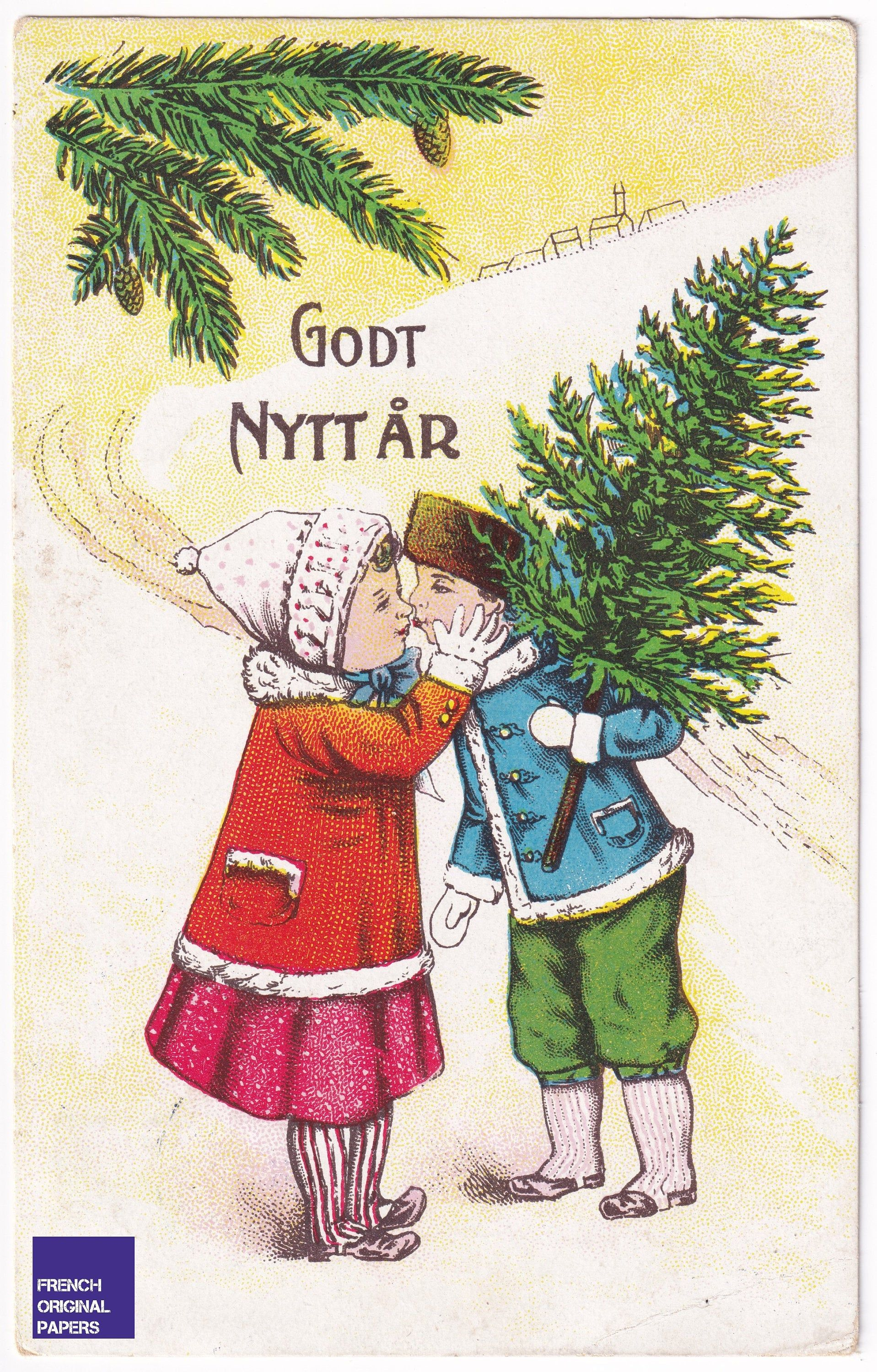 Vintage Swedish Greeting Postcard 1910s Happy New Year Beautiful Illustrator Graphism Girl Christmas Tree French Kiss Lovers Ephemera Winter In 2020 Christmas Girl Postcard Greetings