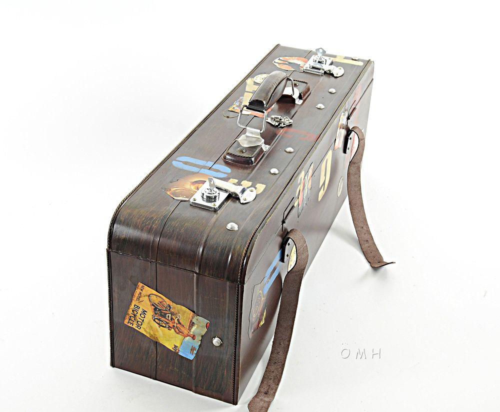 "Decorative Luggage Box Suitcase Vintage Reproduction Metal Model 30"" Decorative Luggage"