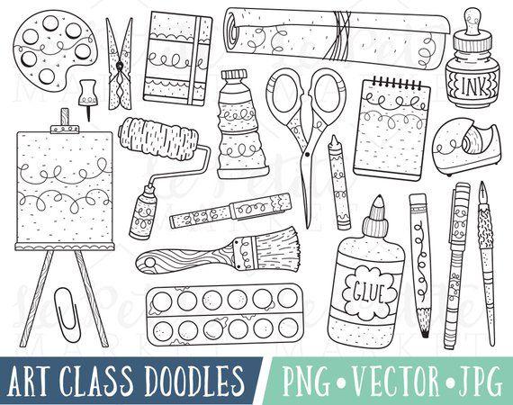 Art Class Doodles Clipart Images Art Doodle Clipart Painting Etsy Doodle Art Art Classes Hand Art Drawing