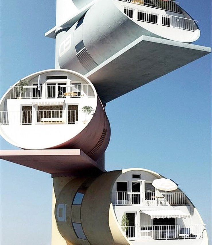 this cylinder shaped housing concept was derived by artist guy dessauges- unique, home, design
