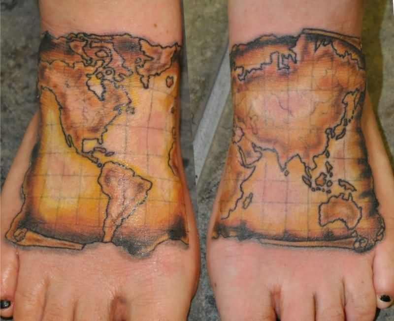 Color ink map tattoos on left back shoulder map on ankle tattoo as the feet travel round the world it seems appropriate to get them inked with this map of the world with latitude and longitude divisions gumiabroncs Image collections