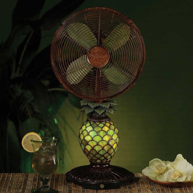 Shop Crackerbarrel Com Mosaic Glass Pineapple Table Fan And Lamp Cracker Barrel Old Country Store Decorative Fan Fan Decoration Pineapple Decor