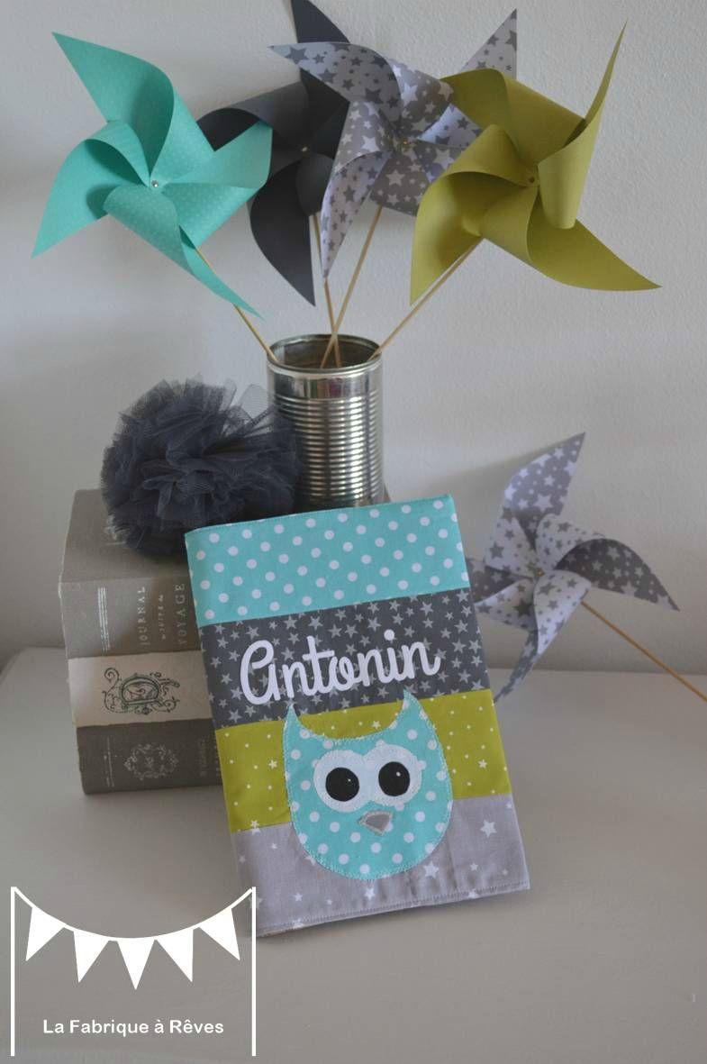 protege carnet santé patchwork tissus turquoise anis gris hibou chouette