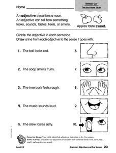 Grammar: Adjectives and Our Senses Worksheet for 2nd - 3rd ...