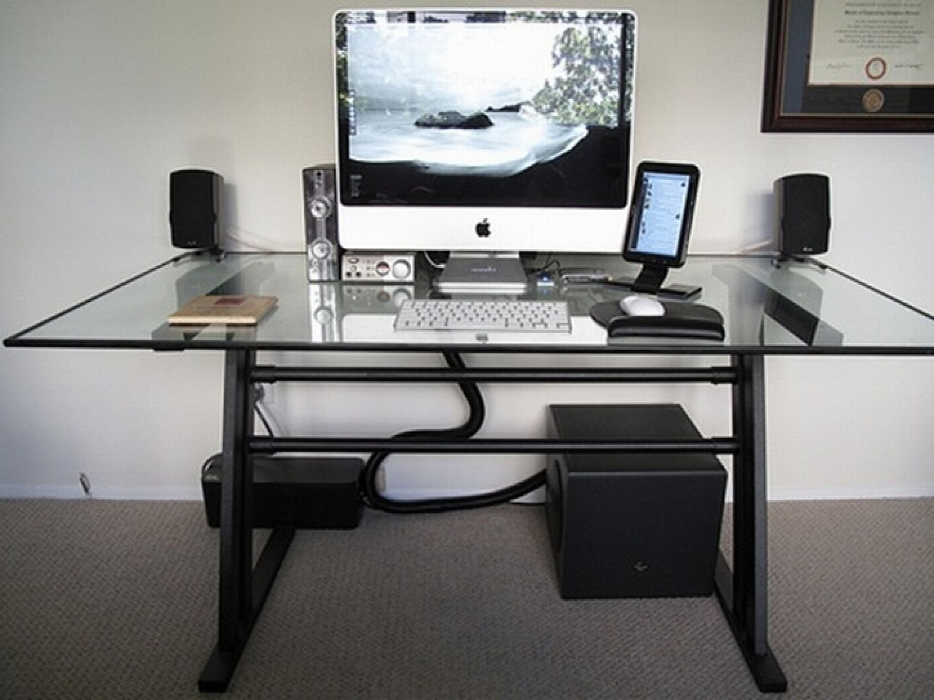 Modern Glass Top Computer Desk Design With White Keyboard And Speakers Set  Also Beautiful Handle Black