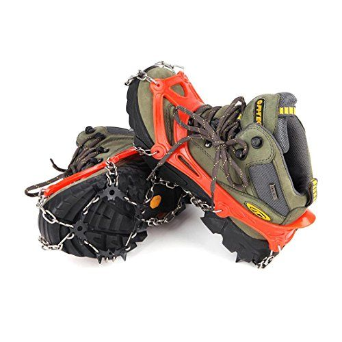 asdfwe Traction Grips Anti-slip Hiking Boots Shoes Crampons Ice Cleats for Outdoor Sports Mountaineering Walking Jogging Hiking Black 1 Pair