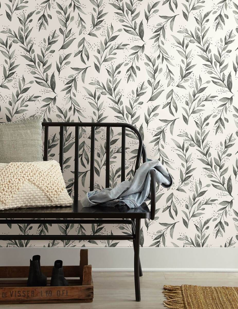 Magnolia Home Olive Branch Peel Stick Wallpaper Charcoal Magnolia Homes Joanna Gaines Wallpaper Wall Coverings
