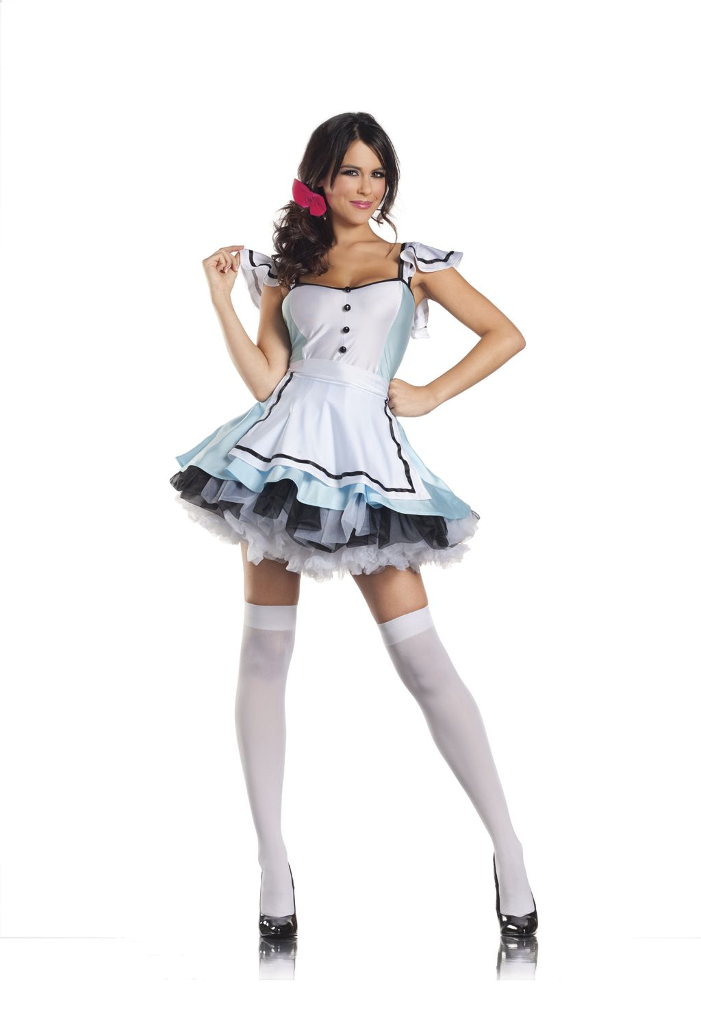 Cute Little White Dress With Elegant Touch Of Black And Blue With White Lag Gins Gr Work Appropriate Halloween Costumes Alice Costume Little White Dresses