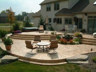 Multi Tier Raised Stamped Concrete Patio